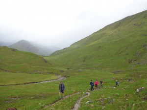 Highland Cross walkers in Glen Affric
