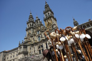 Souvenirs in front of the Santiago of Compostela impressive cathedral