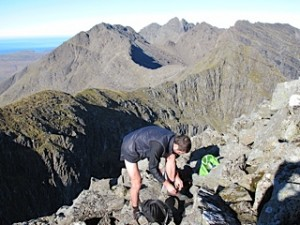 Fin Wild on the Cuillin Ridge. Pic credit: Roger Wild