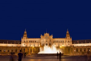 Plaza de Espana (Spain's Square) pavilion and fountain at night in Seville