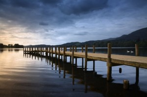 A jetty on Coniston Water in the English Lake District.
