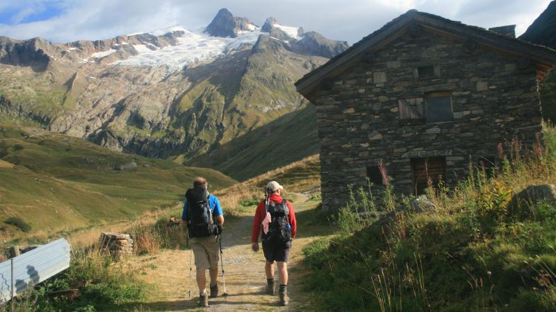 Walkers on the approach to the Mont Blanc Massif.