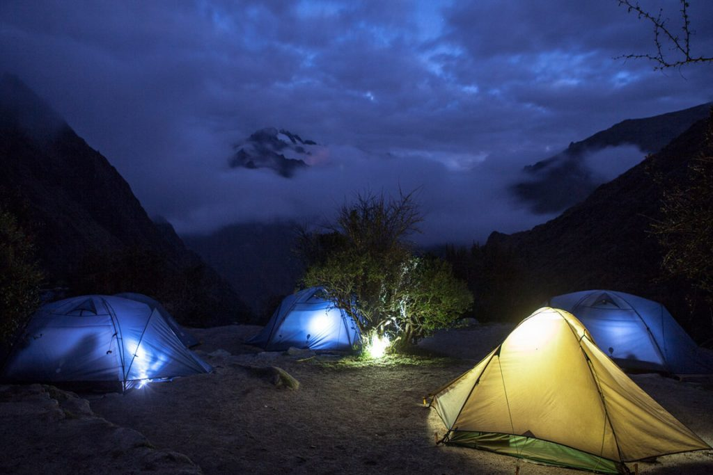 Stopped for the night, camping, on the Inca Trail