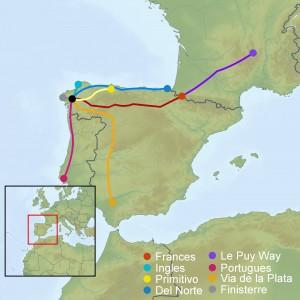 Various Camino routes to Santiago