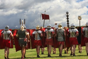 A re-enactment along Hadrian's Wall