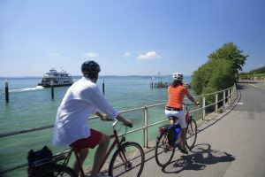 Cyclists on Lake Constance
