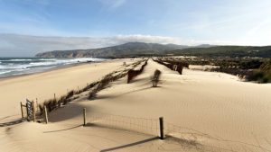 Cycling in Portugal to a beach like this