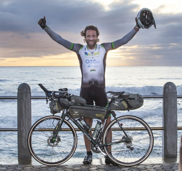 Finish line of Mark Beaumont's epic Solo Africa record-breaking ride.