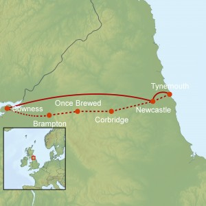 Our route, including transfer to the start point from Newcastle.