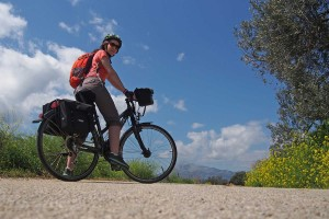 Cycling a quiet road in Greece