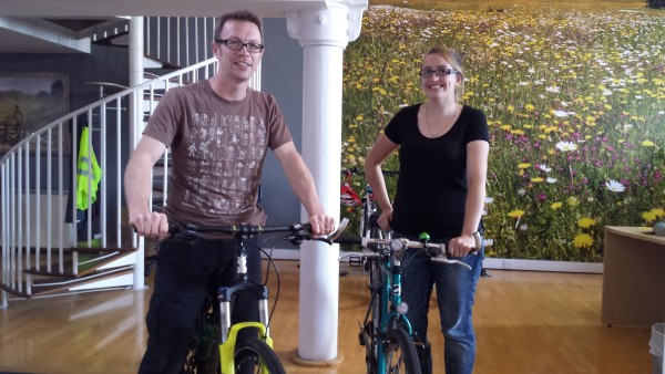 Ewan and Sarah cycled to work today!