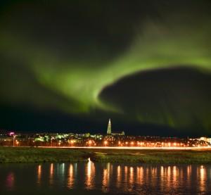 Iceland, Reykjavik, Northern lights, Aurora Borealis, Hallgrimskirkja