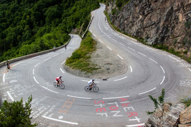 One of the 21 hairpins on Alpe d'Huez, France. Pic credit: Robbie Shade