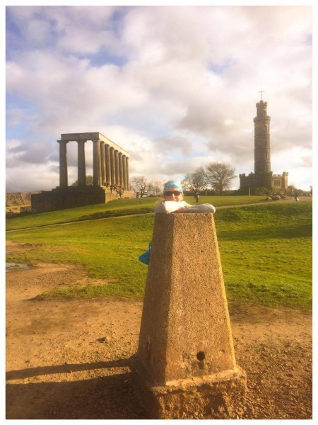 Trig point on Calton Hill.