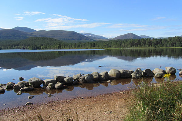 Peaceful Loch Morlich in the Cairngorms.