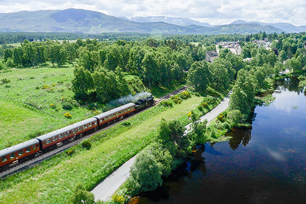 The Strathspey Steam railway chugging away in the Highlands.
