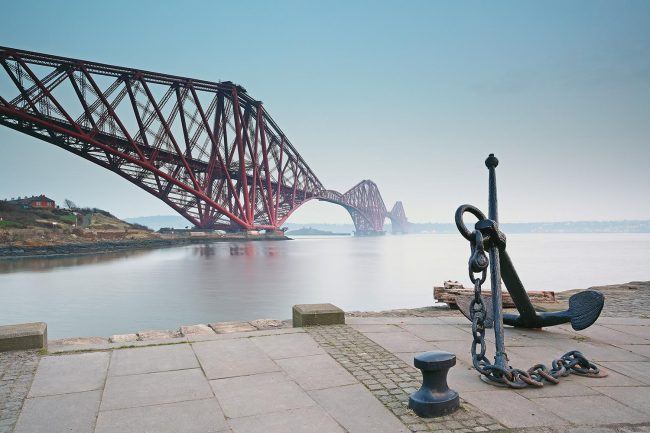 Passing the Forth Bride on the John Muir Way in Scotland.
