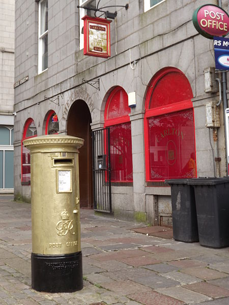 The golden post box dedicated to Katherine Grainger in Aberdeen. Pic credit: Colin Smith