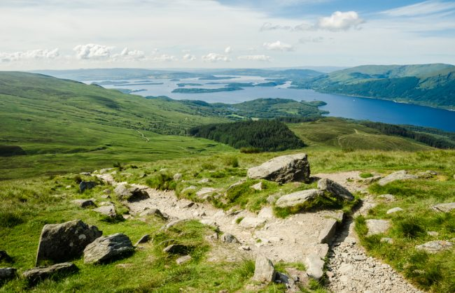 A path to the top of Ben Lomond, on the banks of Loch Lomond.