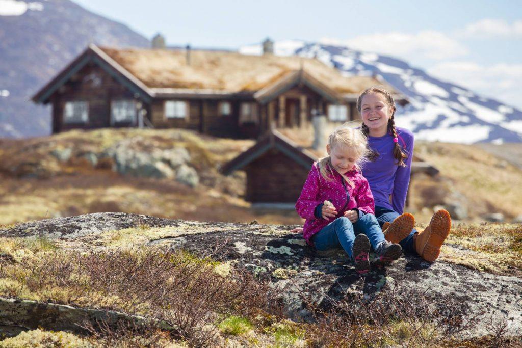 Family hiking in Scandinavia