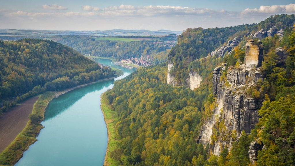 Looking Down the Elbe River from Bastei