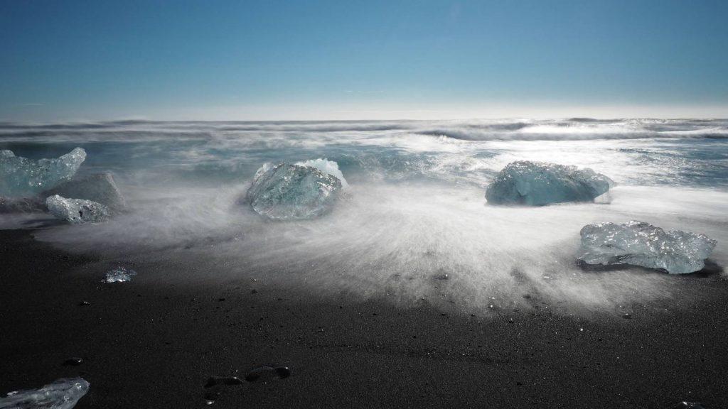 Icebergs on Volcanic Sand, Jokulsarlon Glacial Lagoon