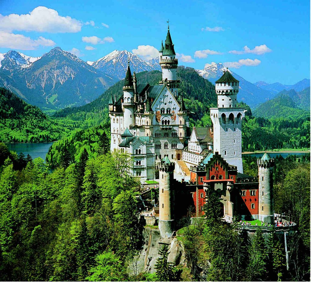 Neuschwanstein and the foothills of the Alps