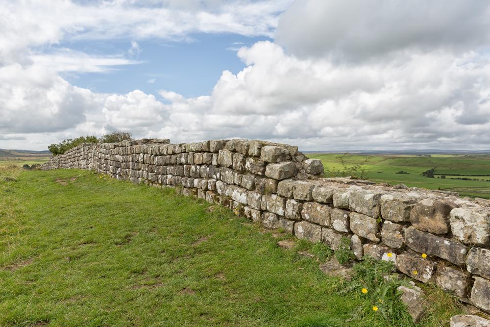 Hadrian's Wall, between England and Scotland.