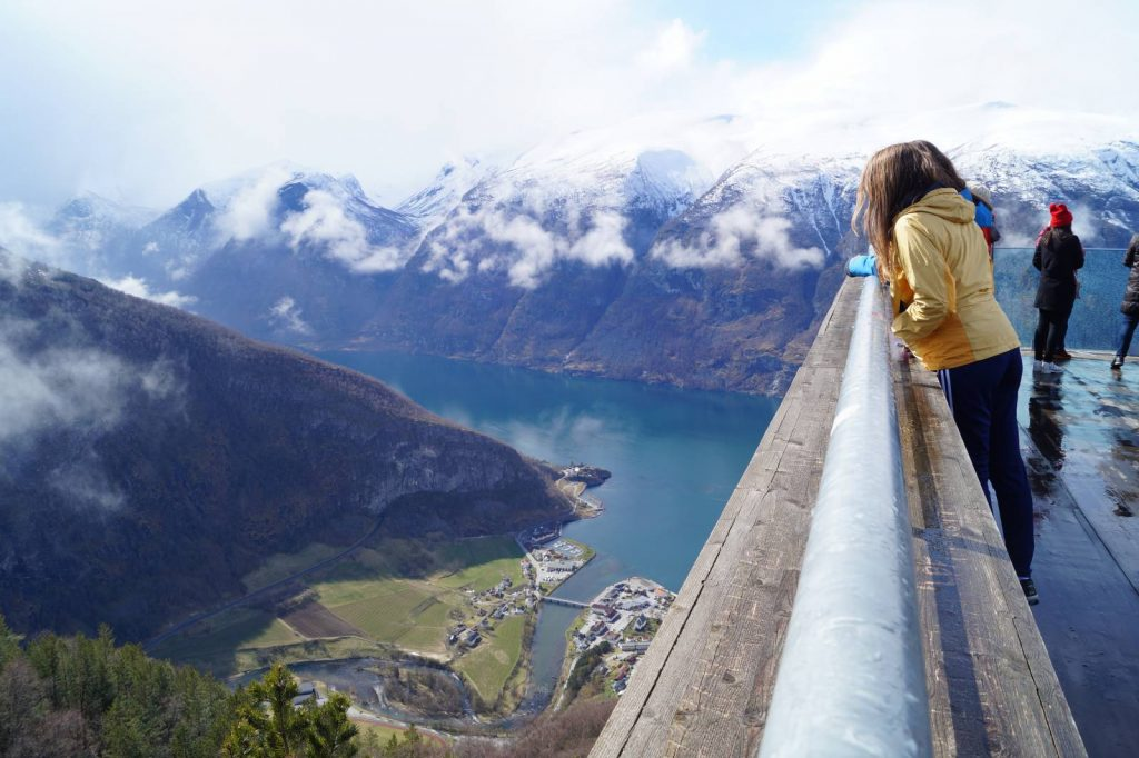 The Stegasteinen viewpoint overlooks the Aurlandsfjord 1,300m below