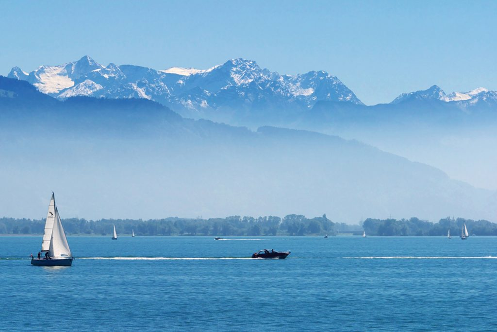 Looking across Lake Constance to the Alps.