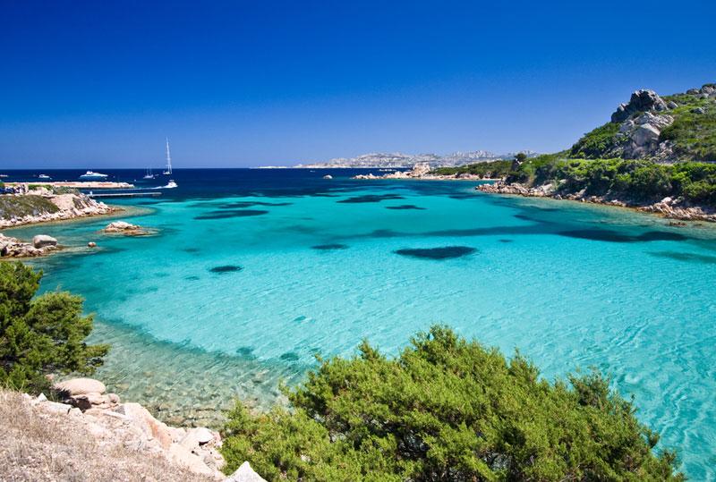 The azure waters around the coast of Sardinia.