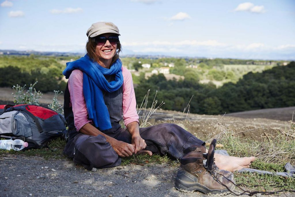 Taking a rest from walking the via Francigena
