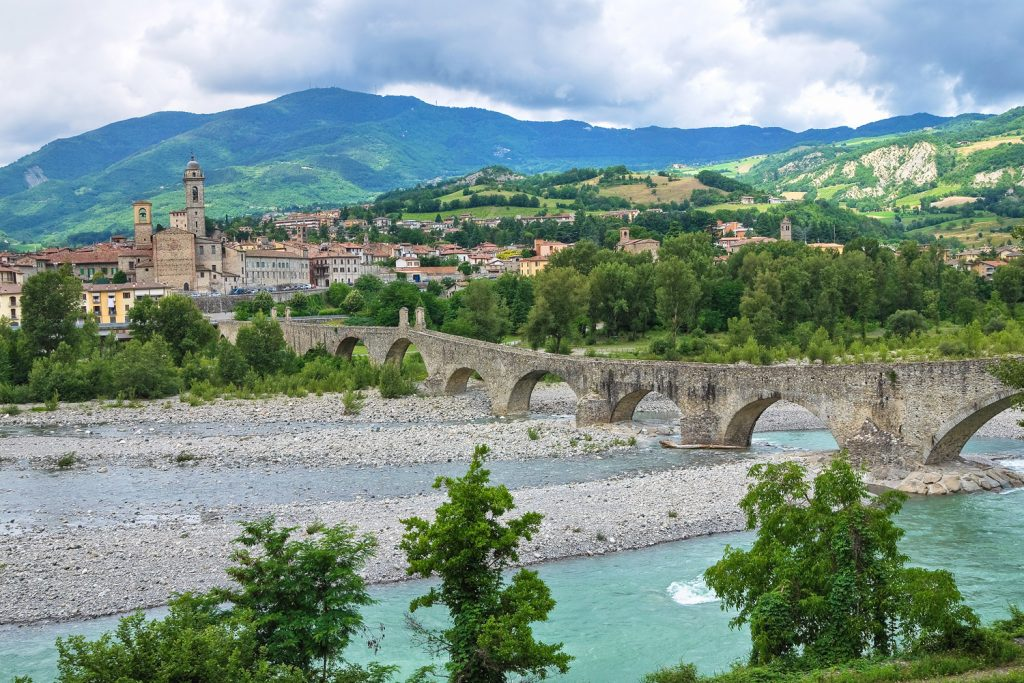 The humpback bridge in the town of Gobbio, Emilia Romagna.