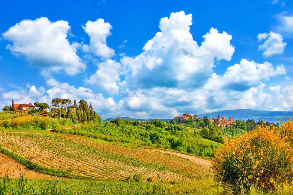Travel between Tuscany's hill town on the Via Franigena.