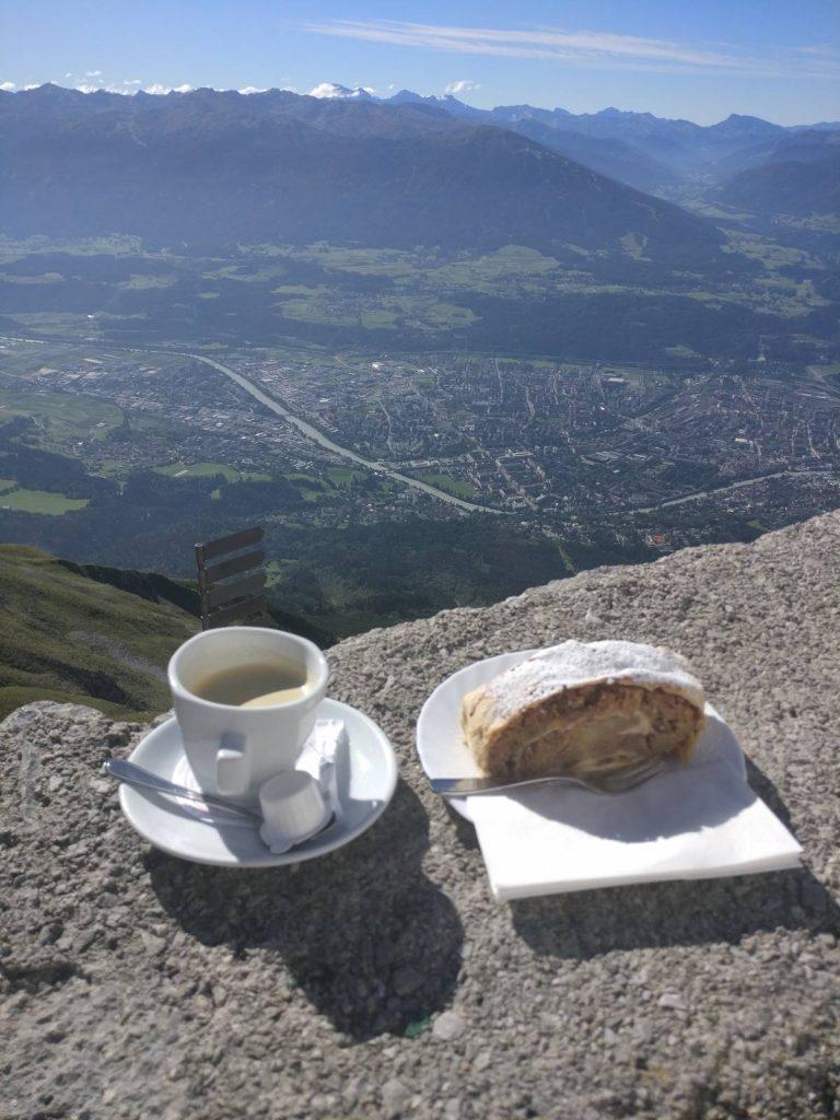 Eating an apple strudel above Innsbruck