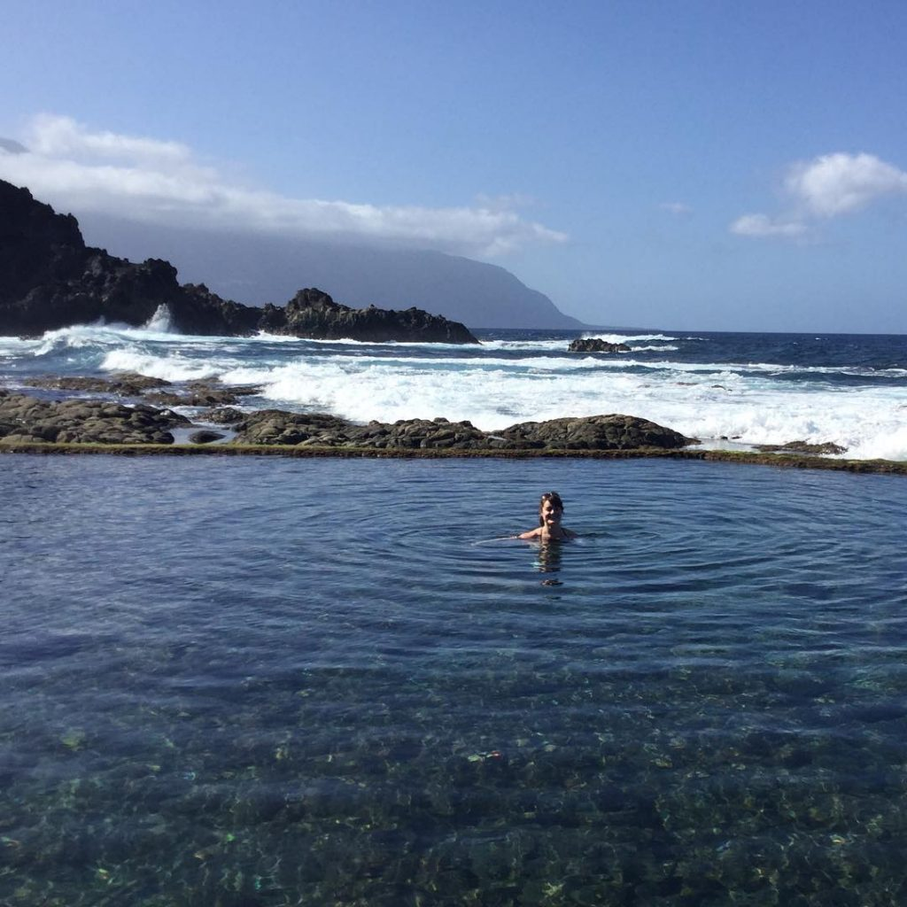 Rachel swimming in the natural pool of La Maceta on El Hierro.