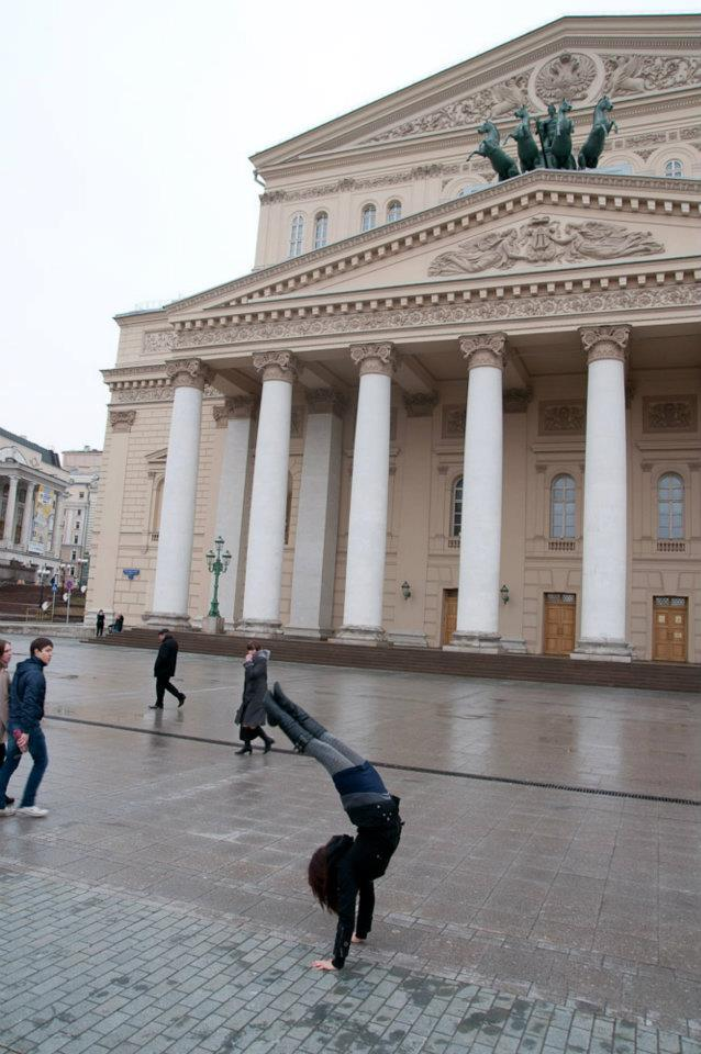 Rachel doing a handstand outside the Bolshoi theatre in Moscow.