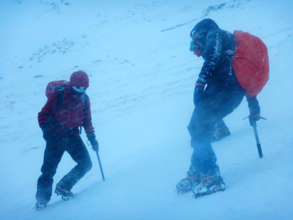 Walking with ice axes and crampons