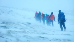 Winter hiking in the Cairngorms.