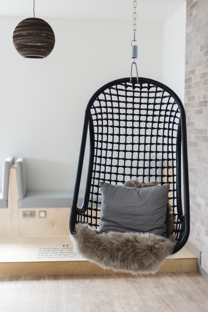 Hanging chair at Macs HQ
