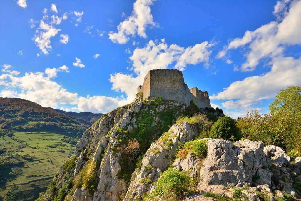 Montsegur Castle, one of the sites on the Carcassonne & Cathar Trails walking tour
