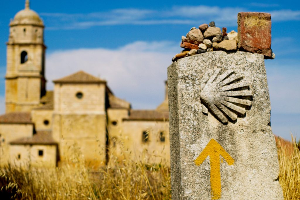 Yellow shells mark the way on the Camino de Santiago.
