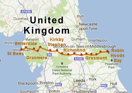 Route from Coast to Coast in England on a map