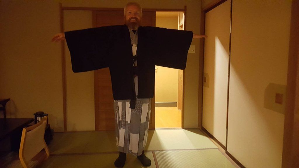 Walking in Japan - Scott Posing in traditional yukata gown