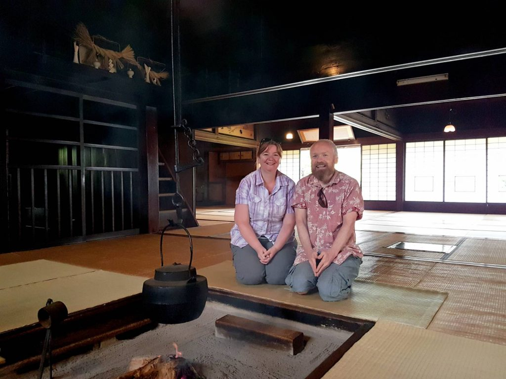 Walking in Japan - Nicola in traditional Japanese minshuku accommodation