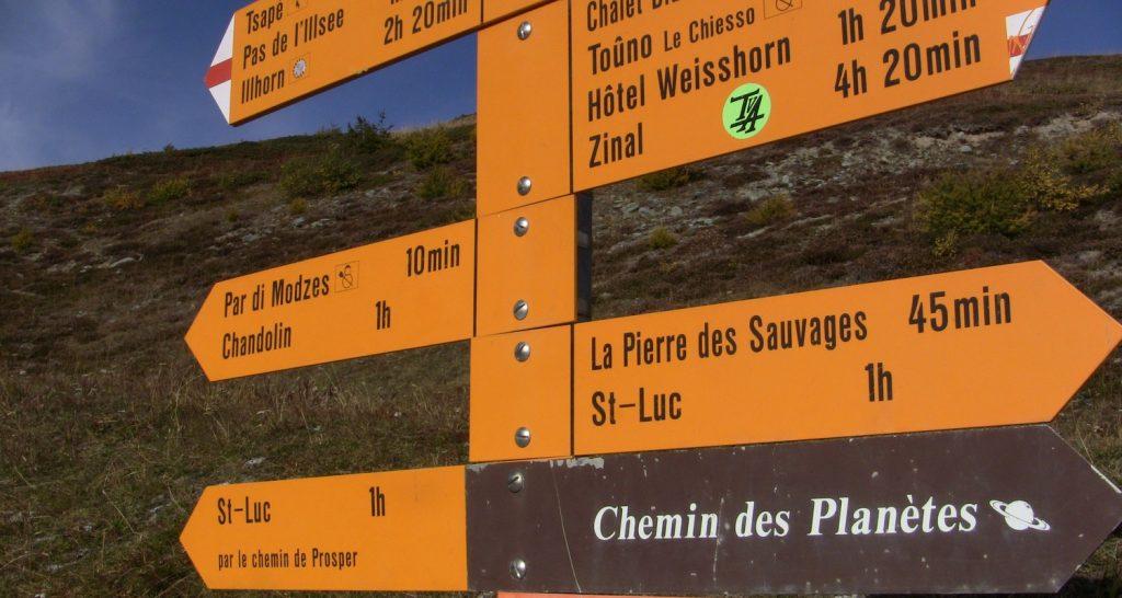 Signposts on Swiss walking trail