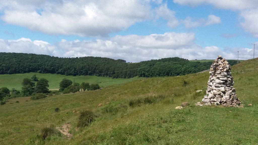 The white cairn near Applegarth Scar