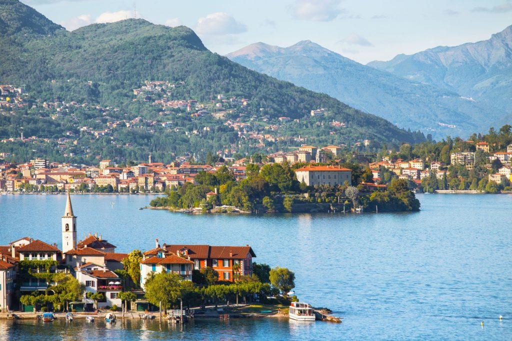 Lake Maggiore in Italy with little villages on its shore