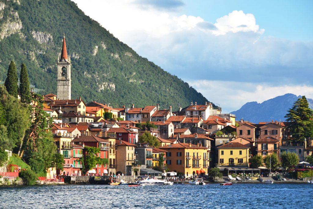 The town of Varenna lies across lake Como
