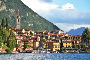 The town of Varenna lies across lake Como